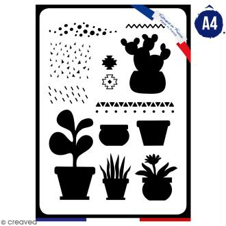 Pochoir multiusage A4 - Plantes grasses - 1 planche - Collection Lama / Cactus