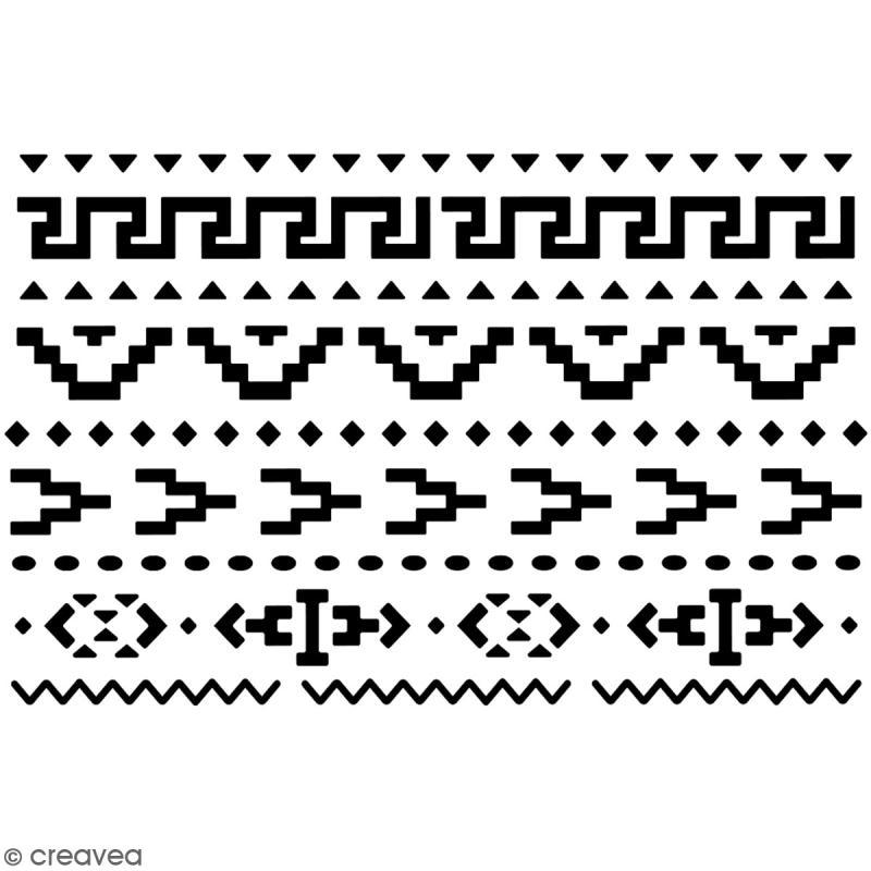 Pochoir multiusage A5 - Motif Aztèque - 1 planche - Collection Lama / Cactus - Photo n°2