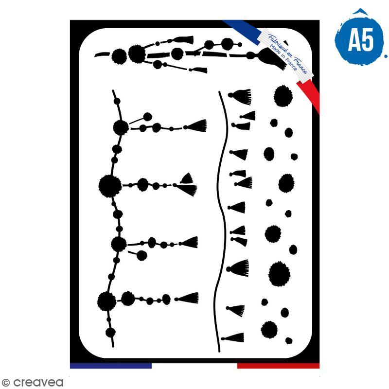 Pochoir multiusage A5 - Pompons - 1 planche - Collection Lama / Cactus - Photo n°1