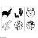 Planche de pochoirs multiusage A4 - Collection Lama / Cactus - Lamas - 6 Motifs - Photo n°2