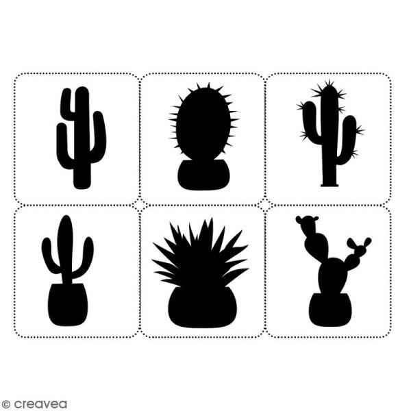 Planche de pochoirs multiusage A4 - Collection Lama / Cactus - Cactus - 6 Motifs - Photo n°2