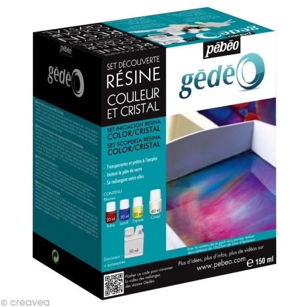 Kit de résines Pébéo Gédéo - 3 couleurs 1 cristal + accessoires - Photo n°1