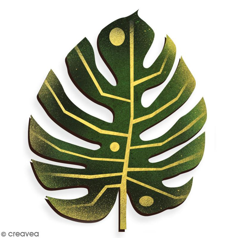 Feuille de Monstera en bois à décorer - 7 cm - Collection Green - Photo n°3