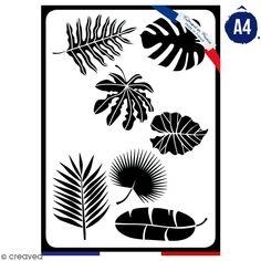 Pochoir multifonction A4 - Feuilles - 1 feuille - Collection verte
