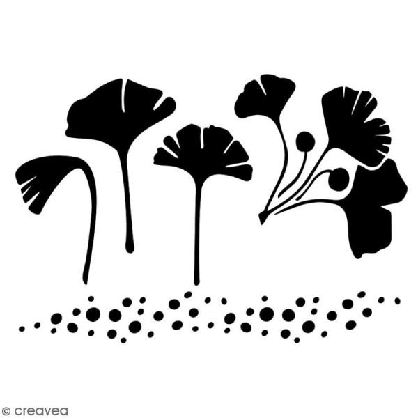 Pochoir multiusage A5 - Feuilles de gingko - 1 planche - Collection Green - Photo n°2