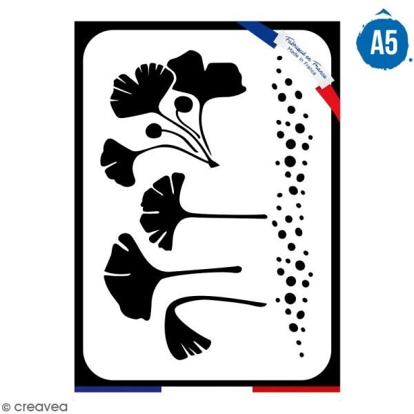 Pochoir multiusage A5 - Feuilles de gingko - 1 planche - Collection Green - Photo n°1