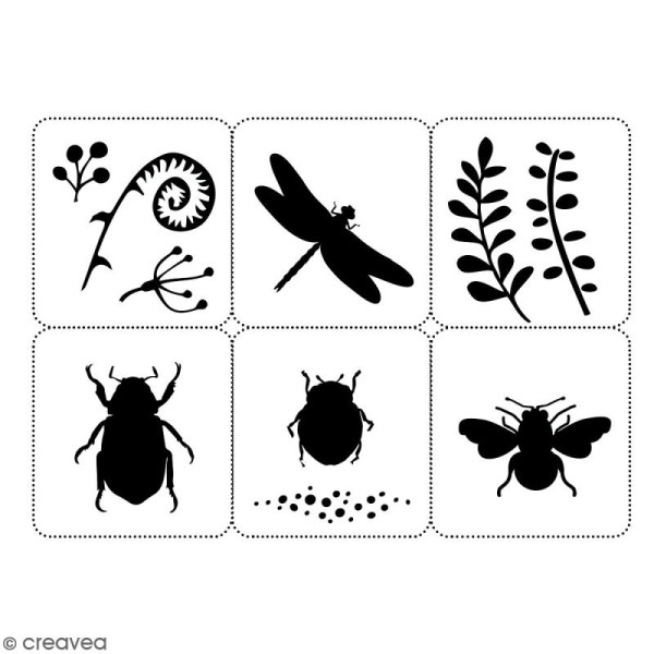 Planche de pochoirs multiusage A4 - Collection Green - Insectes - 6 Motifs - Photo n°2