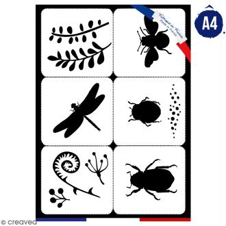 Planche de pochoirs multiusage A4 - Collection Green - Insectes - 6 Motifs