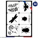 Planche de pochoirs multiusage A4 - Collection Green - Insectes - 6 Motifs