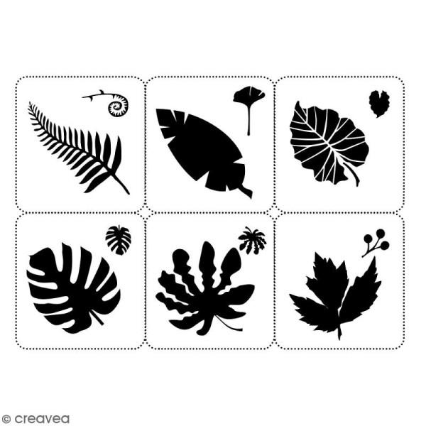 Planche de pochoirs multiusage A4 - Collection Green - Feuilles - 6 Motifs - Photo n°2