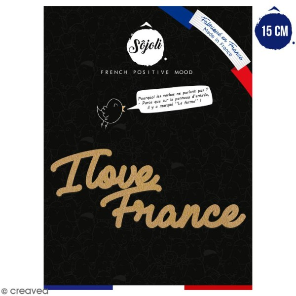 I love France en bois à décorer - 15 cm - Collection Cocorico - Photo n°1