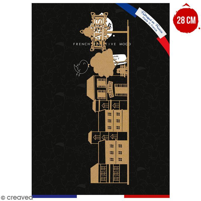 Paysage Amoureux de Paris en bois à décorer - 28 cm - Collection Cocorico - Photo n°1