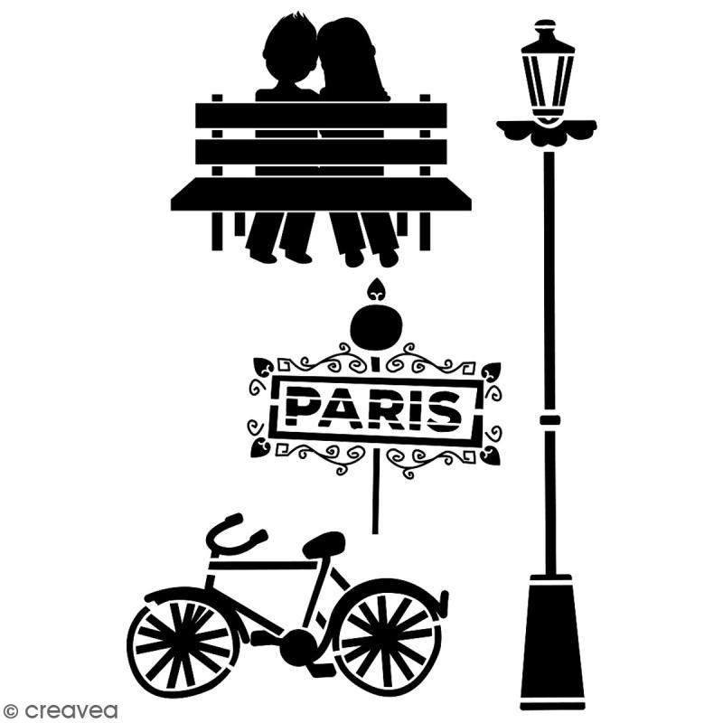 Pochoir multiusage A4 - Amoureux de Paris - 1 planche - Collection Cocorico - Photo n°2