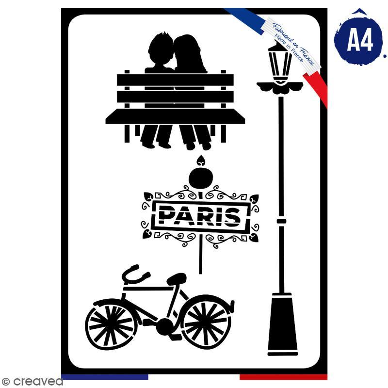 Pochoir multiusage A4 - Amoureux de Paris - 1 planche - Collection Cocorico - Photo n°1