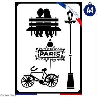 Pochoir multiusage A4 - Amoureux de Paris - 1 planche - Collection Cocorico