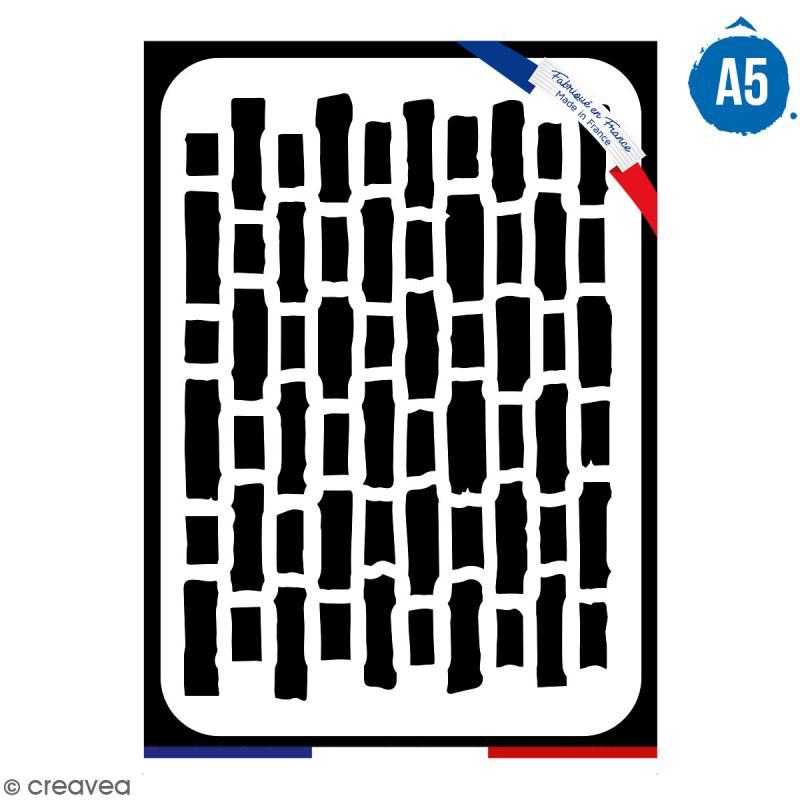 Pochoir multiusage A5 - Motif brique - 1 planche - Collection Cocorico - Photo n°1
