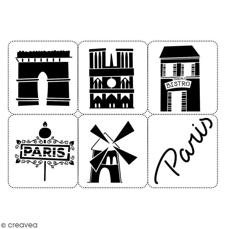 Planche de pochoirs multiusage A4 - Collection Cocorico - Monuments - 6 Motifs - Photo n°2