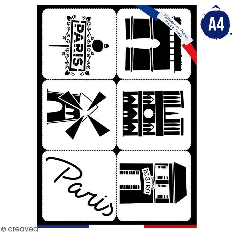 Planche de pochoirs multiusage A4 - Collection Cocorico - Monuments - 6 Motifs - Photo n°1