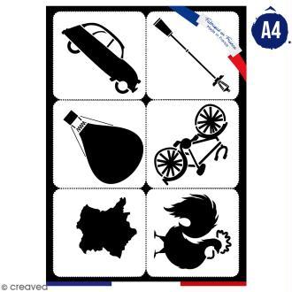 Planche de pochoirs multiusage A4 - Collection Cocorico - Emblèmes de la France - 6 Motifs