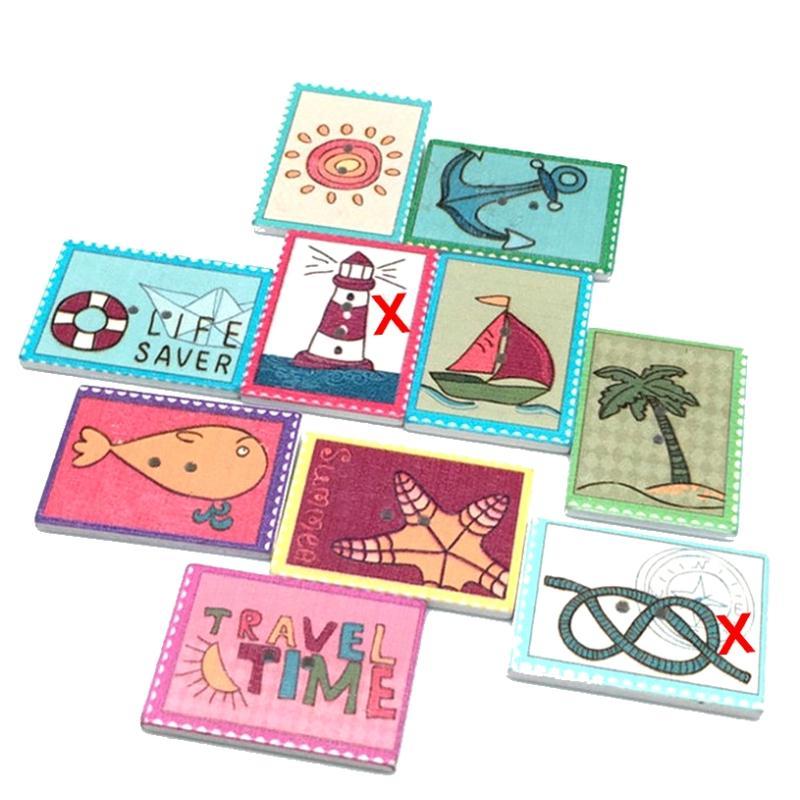 8 boutons plage vacances mer en forme de timbres poste 3 for Timbre de cuisine
