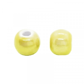 Perle artisanale porcelaine 10mm JAUNE VIF