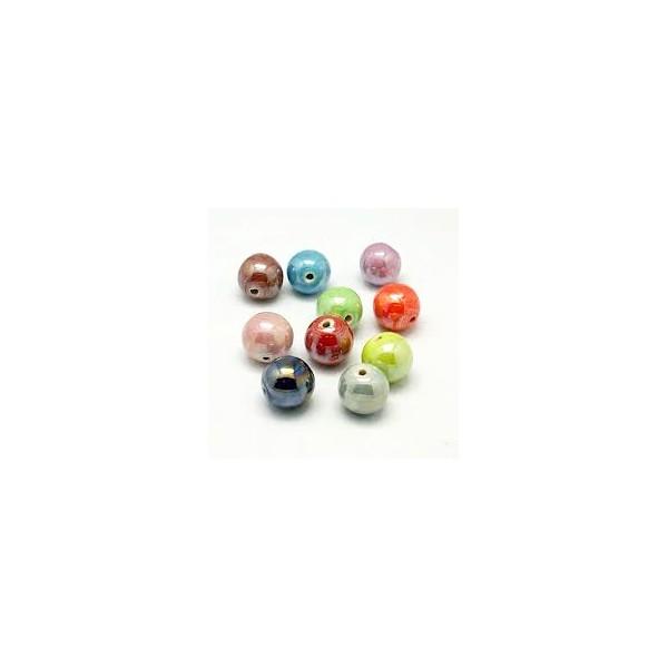 Perle artisanale porcelaine 10mm CARAMEL - Photo n°2