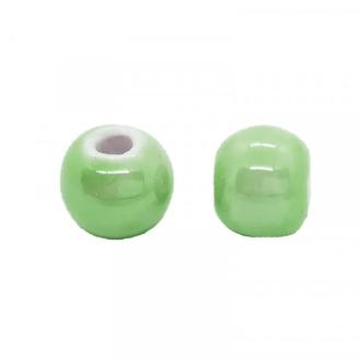 Perle artisanale porcelaine 8mm VERT TILLEUL