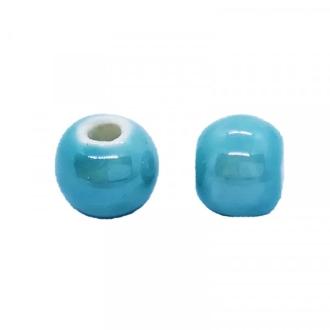 Perle artisanale porcelaine 8mm BLEU TURQUOISE