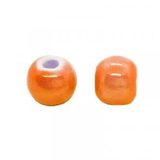 Perle artisanale porcelaine 8mm ORANGE