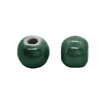 Perle artisanale porcelaine 8mm VERT FORET