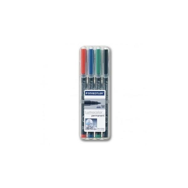 Coffret de 4 crayons staedtler lumocolor permanent de 1.0mm (point M) - Photo n°1
