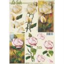 Feuille 3D à découper A4 Fleurs Roses - Photo n°1