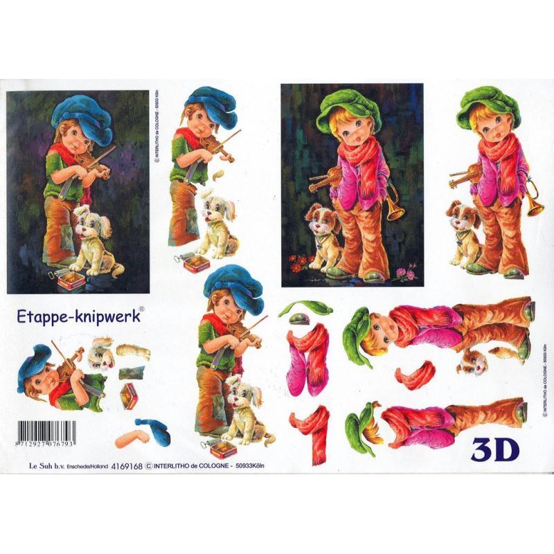 Feuille 3D à découper A4 Poulbot - Photo n°1