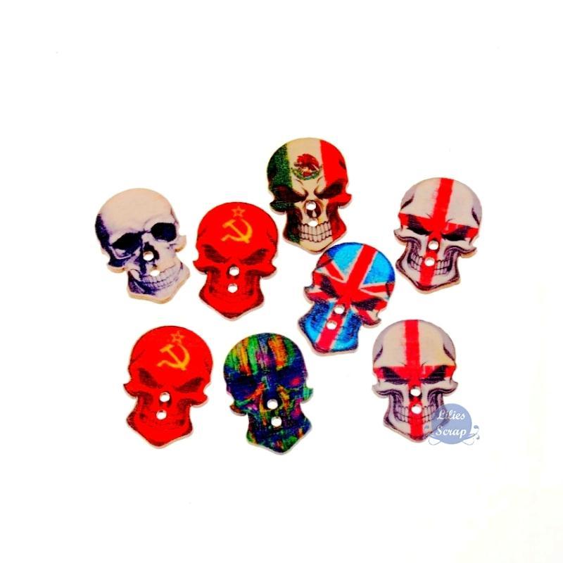 10 boutons t te de mort en bois skulls drapeaux boutons bois creavea. Black Bedroom Furniture Sets. Home Design Ideas