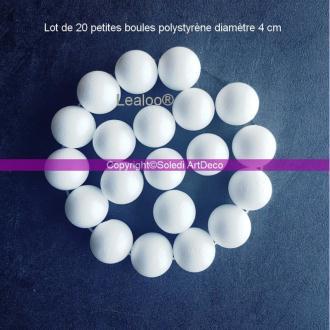 Lot de 20 petites boules polystyrène diamètre 4 cm, Sphères Styro blanc de 40mm
