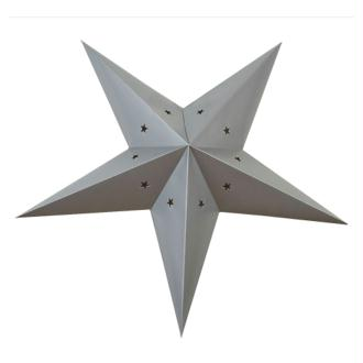 Lanterne étoile en carton - Gris argent - 60cm