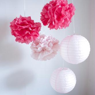 Lot de lanternes et pompons en papier - rose pastel et fuchsia - 5 pièces