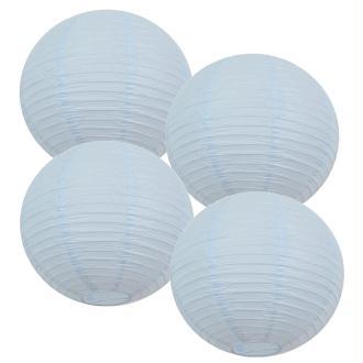 Lot 4 lanternes en papier - 35cm - Bleu pastel - Déco mariage et fête