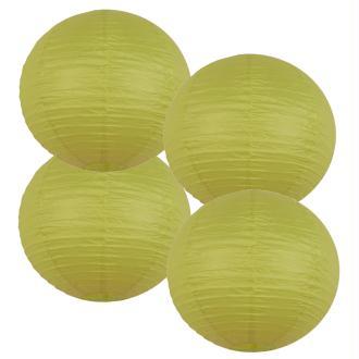 Lot 4 lanternes en papier - 35cm - Citron vert - Déco mariage et fête