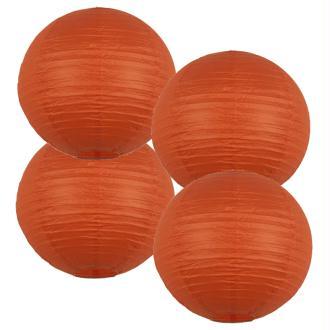 Lot 4 lanternes en papier - 35cm - Orange - Déco mariage et fête