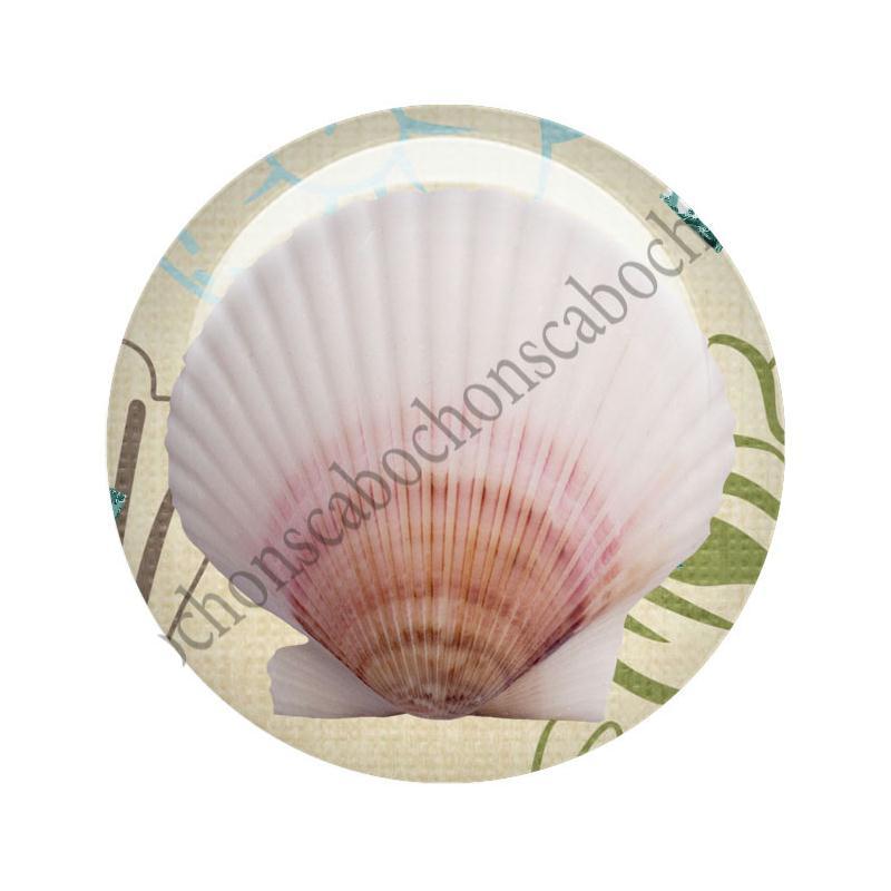 cabochon en verre 30mm toile de mer vacances t coquillages marin cabochons en verre. Black Bedroom Furniture Sets. Home Design Ideas