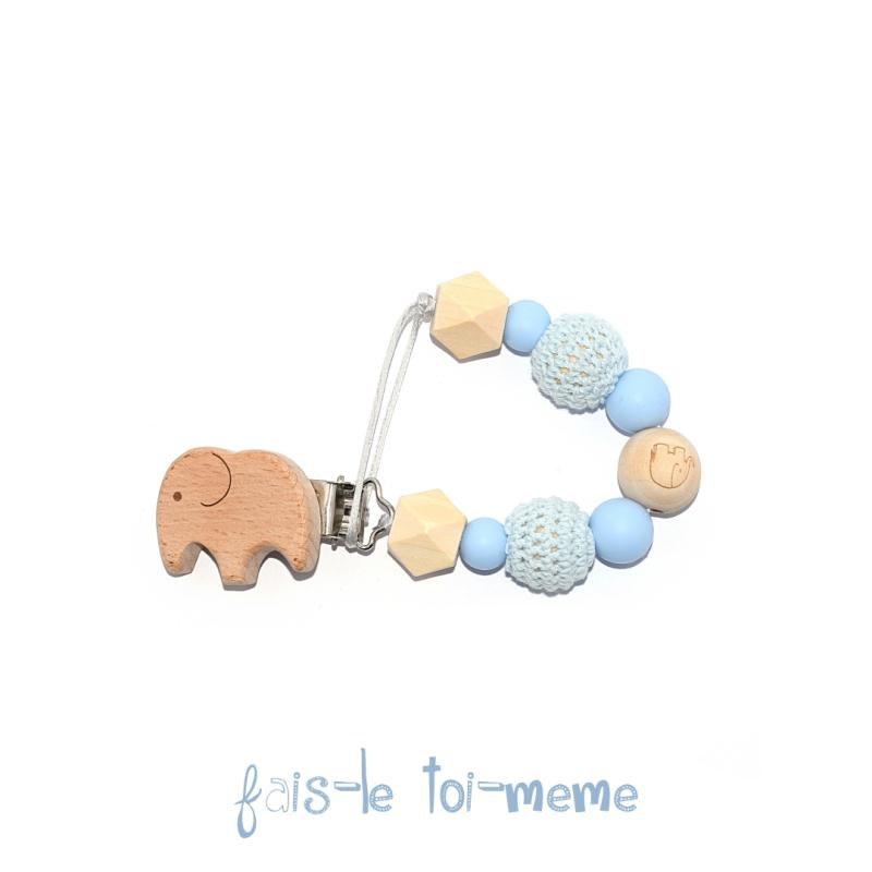 Attache t tine bois l phant perles en bois crochets et silicones sucettes et t tines creavea - Perle en bois pour attache tetine ...