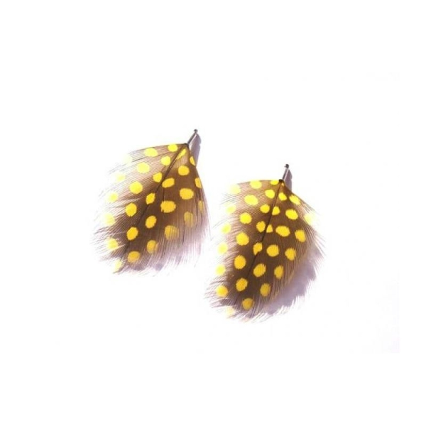 Pintade teintée jaune : 2 pendentifs 57 MM environ de hauteur - Photo n°1