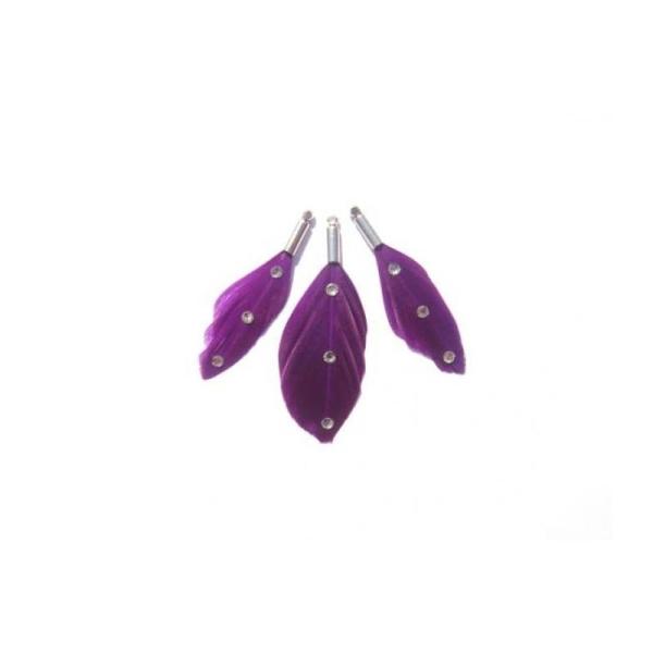 Oie teintée violet et strassée : 3 MINI pendentifs 35/40 MM de hauteur - Photo n°1