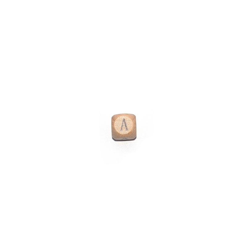 lettre a cube 12 mm en bois naturel perles alphabet. Black Bedroom Furniture Sets. Home Design Ideas