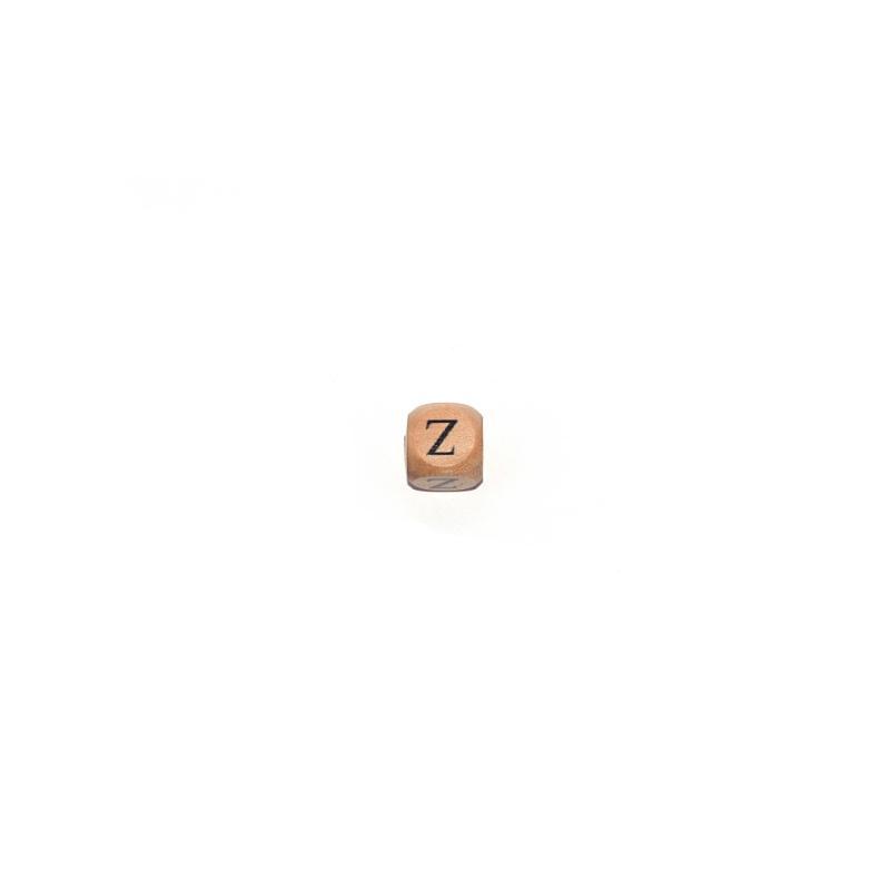 lettre z cube 12 mm en bois naturel perles alphabet. Black Bedroom Furniture Sets. Home Design Ideas