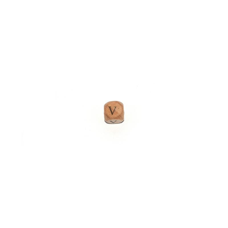 lettre v cube 12 mm en bois naturel perles alphabet. Black Bedroom Furniture Sets. Home Design Ideas