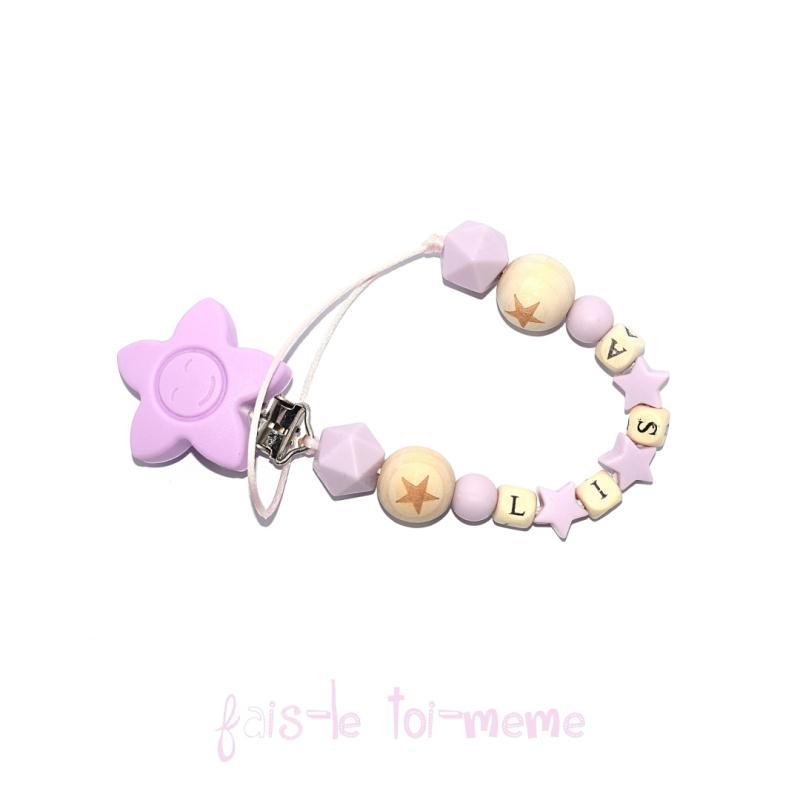 Attache t tine fleur perles en bois et silicones toiles avec pr nom sucettes et t tines creavea - Perle en bois pour attache tetine ...
