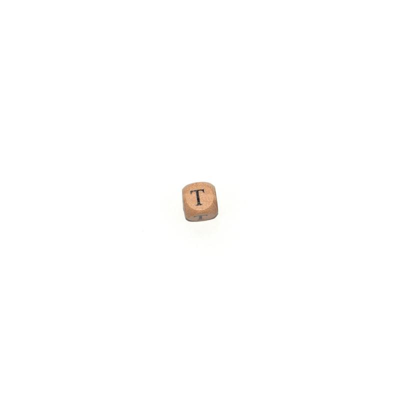 lettre t cube 12 mm en bois naturel perles alphabet. Black Bedroom Furniture Sets. Home Design Ideas