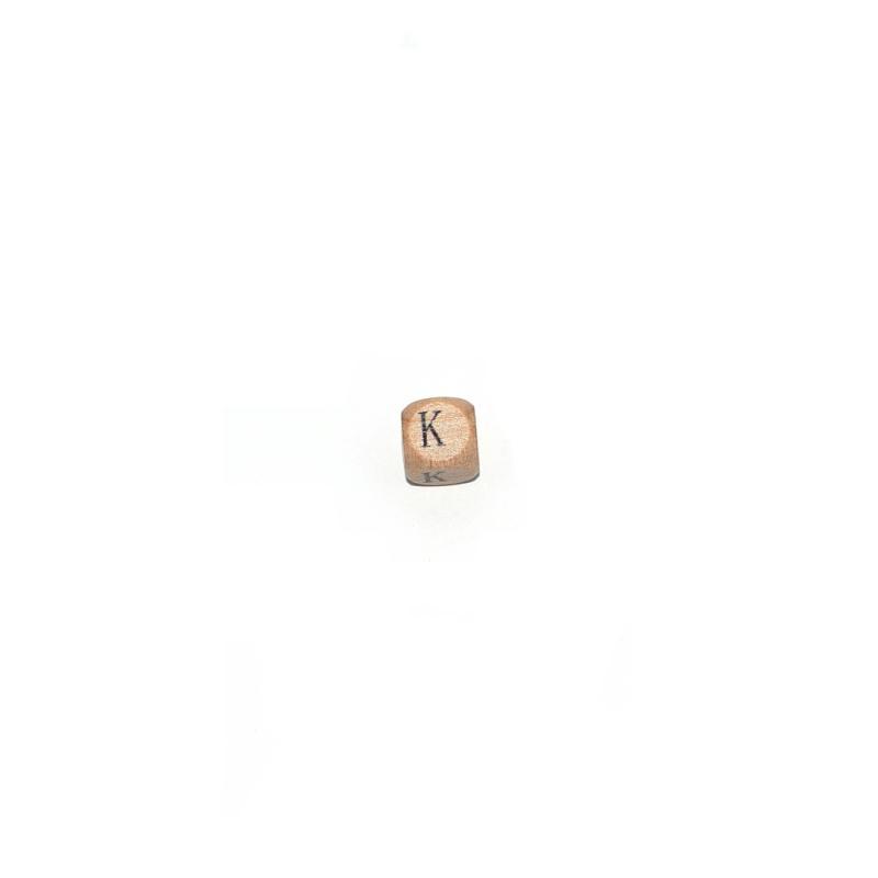 lettre k cube 12 mm en bois naturel perles alphabet. Black Bedroom Furniture Sets. Home Design Ideas